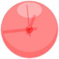 シンプル透明時計(赤)
