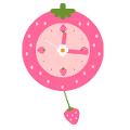 いちごの振り子時計(ピンク)