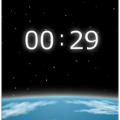 宇宙で輝くデジタル時計
